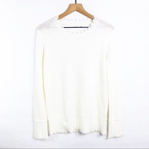 Skyler & Madison distressed cream sweater medium